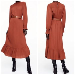 NEW Zara Smocked Ruffled Rust Belted Maxi Dress